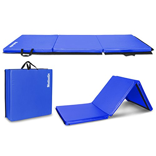 Matladin 6' Folding Tri-fold Gymnastics Gym Exercise Aerobics Mat, 6ft x 2ft x 2in PU Leather Tumbling Mats for Stretching Yoga Cheerleading Martial Arts (Blue)