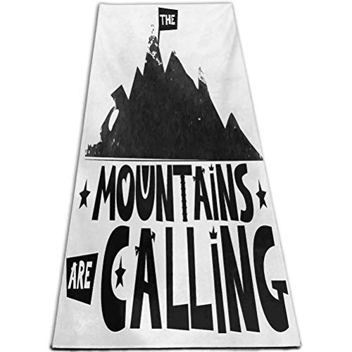 RenteriaDecor Quote Kids Yoga Mats Mountains are Calling Inscription in Scandinavian Style Climbing and Traveling Black and White