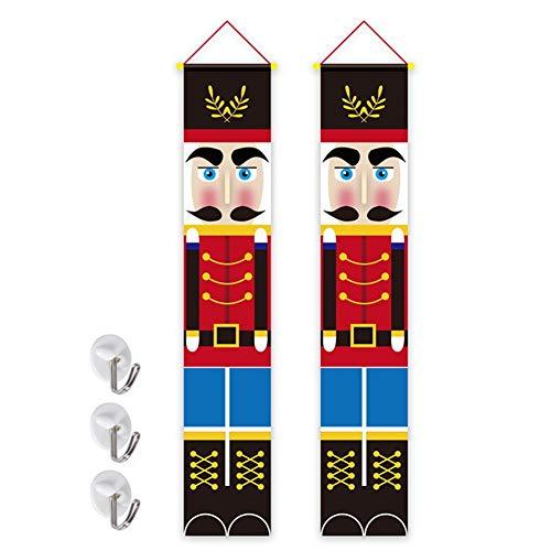 Phoetya JYuanzshi Schiaccianoci decorazioni natalizie, in tessuto Oxford, modello soldato, striscione per esterni centro commerciale, decorazione natalizia, 180 x 30 cm