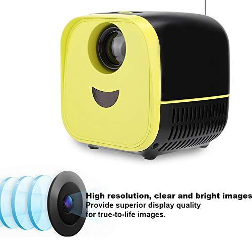 ASHATA Mini proyector, proyector portátil Ultra Mini 1080P 1000: 1 Contraste 1000 lúmenes Altavoz Incorporado Proyector LED para el hogar, con HDMI, USB, TF, para el hogar al Aire Libre(UE)
