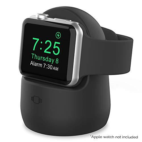 AHASTYLE iWatch Stand Silicone Charging Dock Holder Accessories per Apple Watch Series SE/6/5/4/3/2/1(44/42/40/38mm), Supporta la modalità comodino 【Adattatori NON inclusi】 (Nero)