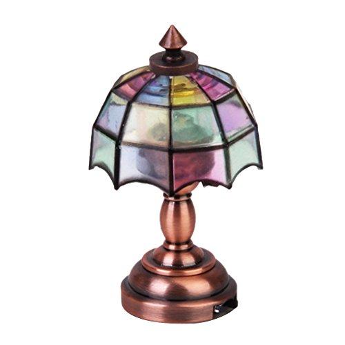 Bronze Metall 1:12 Puppenhause Miniatur LED Schreibtischleuchte Modell mit Multicolor Regenschirm Form Lampenschirm