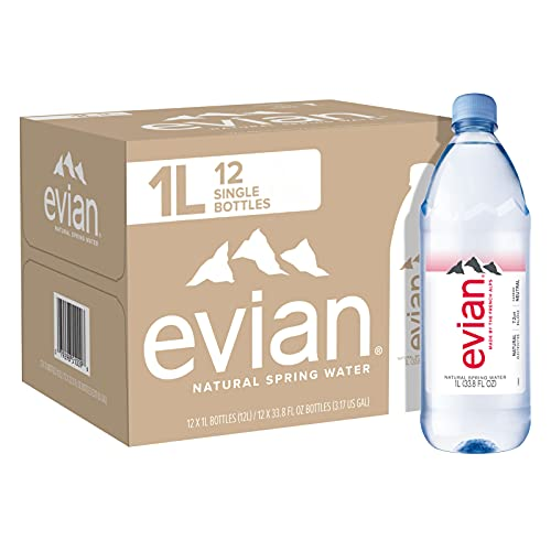 evian Natural Spring Water, Naturally Filtered Spring Water in Large Bottles, 33.81 Fl Oz (Pack of 12)