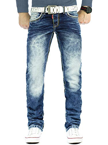 Cipo & Baxx Herren Jeans Mens Pants Freizeit-hose Clubwear Designer Style Top 34W / 32L Blau