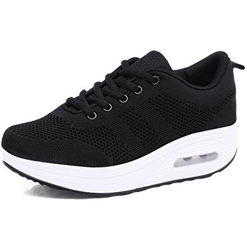 Solshine Damen Chic Plateau Schnürer Sneakers Walkmaxx Shape-up Fitnessschuhe Schwarz 39EU