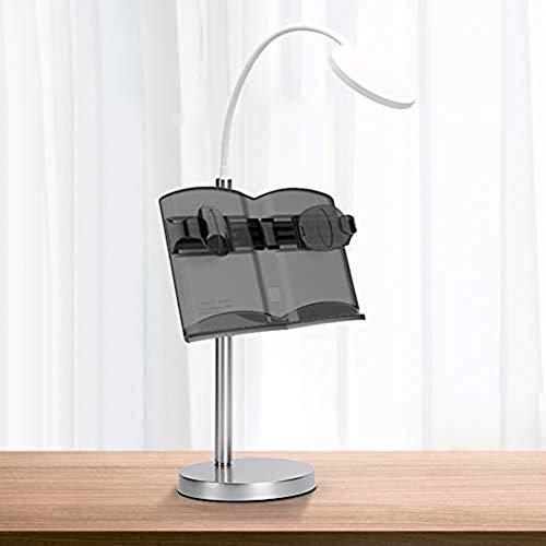 Multifunktions-Schreibtisch-Kochbuch-Ständer, mit LED-Lichtern, Leseständer für Erwachsene, Studenten, Restaurants L Schwarz