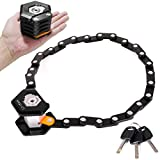 Folding Bike Lock, Bike Chain Lock, Heavy Duty Alloy Steel, Bicycle Foldable Lock with Mounting Bracket, Anti-Theft Strong Security, with 3 Keys, 79cm(Black)