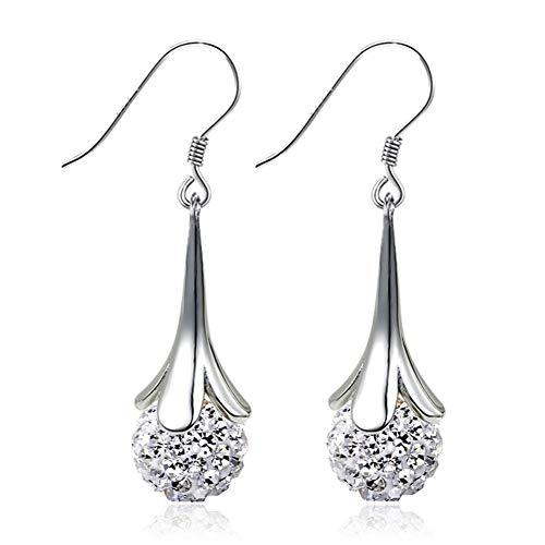 LVYI Mode voller Diamant-Kugel Versilbert Blumen-Ohrringe weibliche Ultra glänzende Shambhala übertriebene Troddel Mittellange Ohrringe