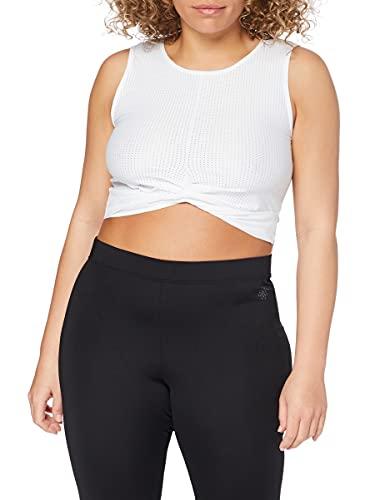 Amazon Brand - AURIQUE Top corto deportivo de malla para mujer, Blanco (Blanco), 42, Label:L