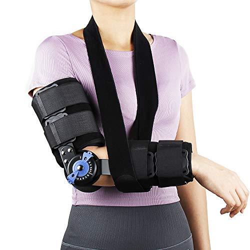 REAQER Armschlinge Ellbogen Schulter Humerus Bandage Schiene Arm Unterstützung Stabilisieren das Verletzte Arm, Einstellbarer ROM Ellbogenstütze mit Scharnier
