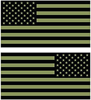 Reverse and Forward Facing Subdued OD Green American Flag Stickers FA Graphix Vinyl Decal USA US America Flags Stars and Stripes