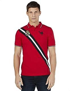 Splash Contrast Trim Short Sleeves Side Logo Polo Shirt for Men M