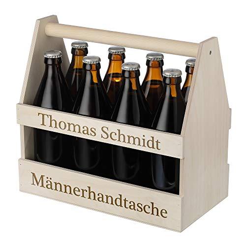 polar-effekt Männerhandtasche aus Holz - Wunschgravur - Bierträger für 8 Flaschen - Ideal für Bierflaschen - Geburtstag, Weihnachten oder Verabschiedung - Für Männer - Motiv Männerhandtasche