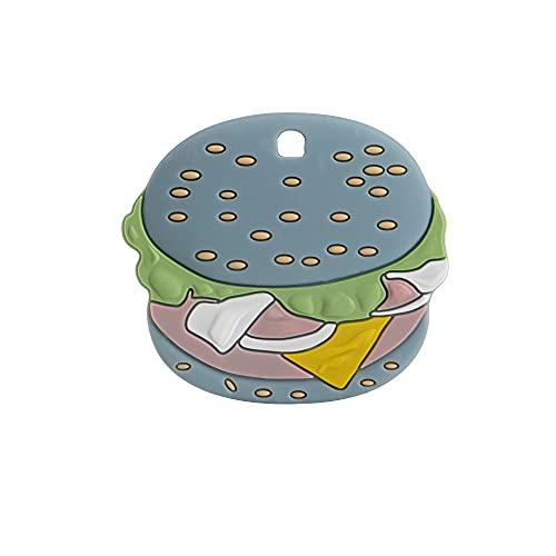 YMJTLTU 1 mordedor de silicona Hamburgo Molar Mordedor DIY Chupete Cadena Accesorios de Joyería Masticables Juguetes de Lactancia Bebé (Color: 1 pieza Azul)