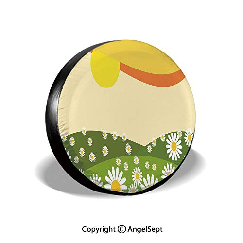 Spare Tire Cover,Daisy Flower Field with Chamomiles Hill Under Sun Idyllic Cartoon Decorative,Cream Lime Green Earth Yellow,for Jeep Trailer SUV RV and Many Vehicles,17 Inch