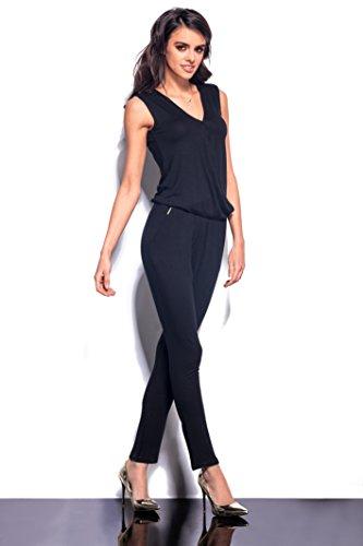 Lemoniade eleganter Jumpsuit ohne Ärmel mit verführerischem V-Ausschnitt in Wickeloptik, schwarz - 6