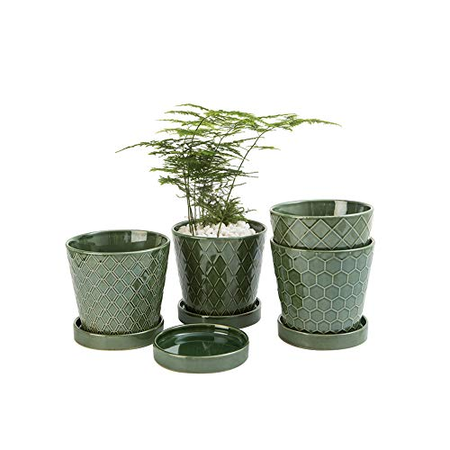 EFISPSS Flower Planter –5 inch Ceramic Plant Pots with Drainage Hole and Ceramic Tray -...
