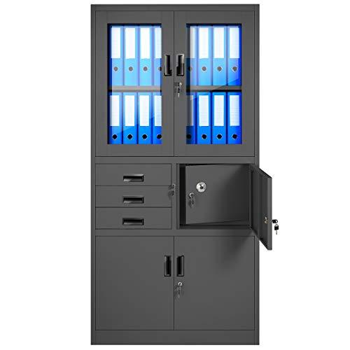 Aktenschrank C018S Büroschrank Metallschrank Tresor Safe Geheimfach Flügeltüren Schubladen Pulverbeschichtung Stahlblech 185 cm x 90 cm x 40 cm (H x B x T) (anthrazit/anthrazit)