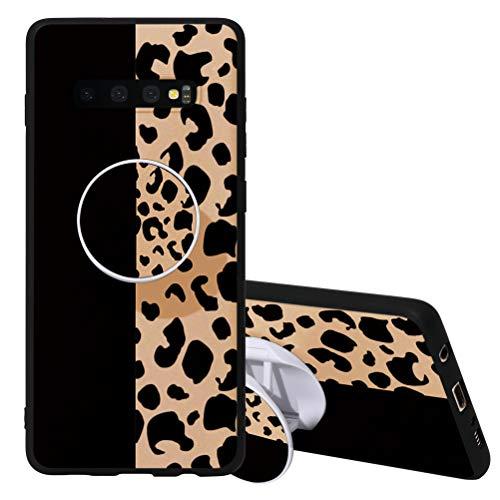Yoedge Funda para Samsung Galaxy S10, 3D Cárcasa Apoyo Soporte esférico Silicona de Negro con Diseño Dibujos Suave TPU Animados Patrón Case Cover Bumper Fundas para Movil Samsung Galaxy S10 6,