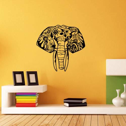 hllhpc Decoración del hogar Vinilo Elefante Indio Etiqueta de la Pared calcomanía patrón de la Cabeza del Elefante Arte de la Pared Mural Dormitorio decoración Wallpaper59 * 59 cm
