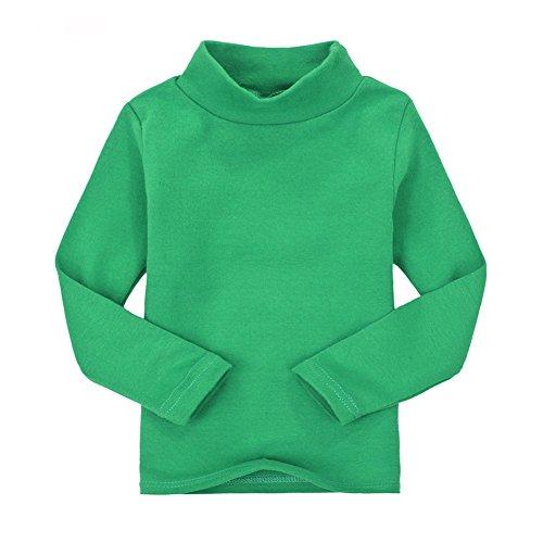 Casa Kinder Rollkragen Tops Unisex Langarm Polo Baumwoll T-Shirt für 2-6 Jahre (3 Jahre alt, Grün)