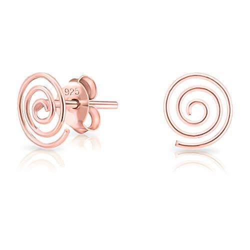 DTPsilver Aretes/Pendientes Pequeños de Plata de Ley 925 Chapado en Oro Rosa - Forma de Espiral - Dimensión: 7 x 8 mm