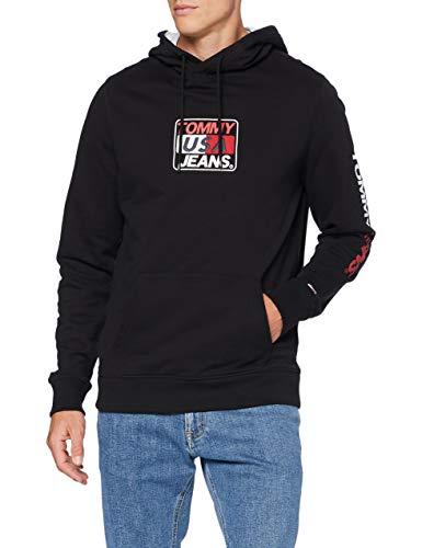 Tommy Jeans Herren TJM Essential Graphic Hoodie Pullover, Schwarz, M