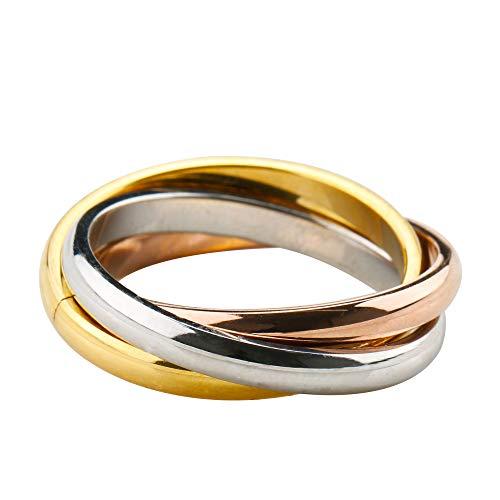 [silver KYASYA]ステンレス 三連リング ゴールド シルバー ローズゴールド 三色 リング 三連指輪 セットリング トリニティリング (17)