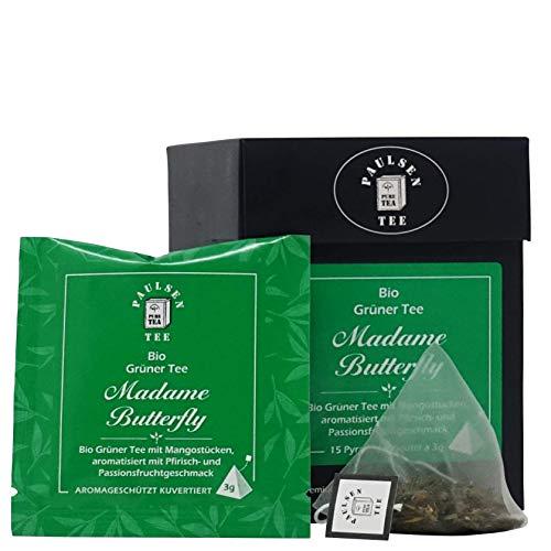 Paulsen Tee Pyramidenbeutel Madame Butterfly Grüner Tee 15 x 3g - Bio, rückstandskontrolliert & zertifiziert