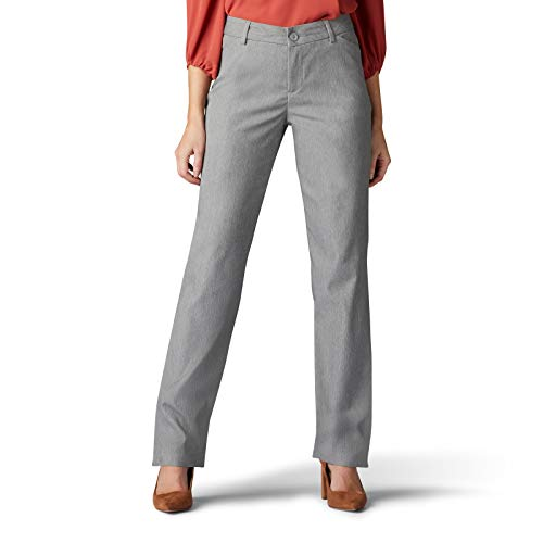 LEE Women's Wrinkle Free Relaxed Fit Straight Leg Pant, ash Heather, 14
