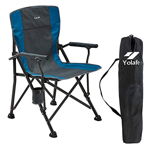 Yolafe Camping Chair Folding Portable Lawn Chair Padded Hard Armrest Ergonomic High Back Support 300lbs Oversize Heavy Duty with Carry Bag