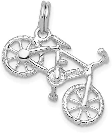 925 Sterling Silver Bicycle Pendant Charm Necklace Travel Transportation Man Hobby Sport Profession product image