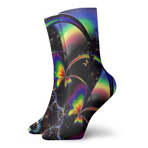 BJAMAJ Calcetines Unisex con diseño de Mariposas y arcoíris, Calcetines de poliéster para Adultos, Calcetines de algodón