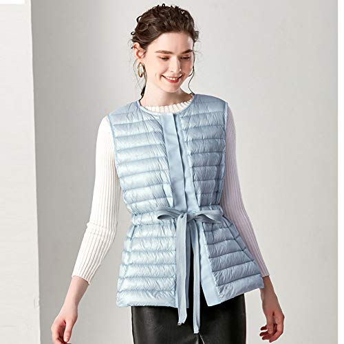 BAONUANY Down Vest Voor Vrouwen, Lichtblauw Lente Vrouwen Slim Sweet Vest Ultra Licht Down Vest Jacket Winter Weightless Mouwloze Jas