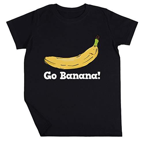 Go Banana! Niño Niña Unisexo Negro Camiseta Manga Corta Kids Black T-Shirt