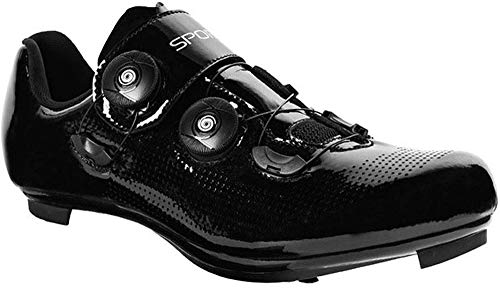 KUXUAN Calzado de Ciclismo de Carretera para Hombre Zapatillas Deportivas Antideslizantes Estilo Bicicleta Compatible con SPD Calzado para Bicicleta de Interior,Black-42