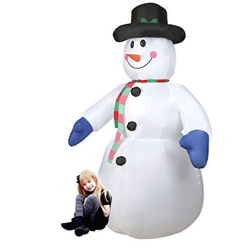 CCLIFE Muñeco hinflable de nieve LED, 120cm,180cm o 240 cm, exterior, iluminación navideña, Color:Blanco001-240cm