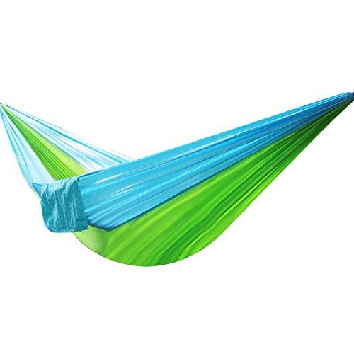 WXL Hamac - Hamac extérieur en toile de parachute Hamac individuel double de camping (Couleur : Light blue+light green, taille : 250 * 130cm)