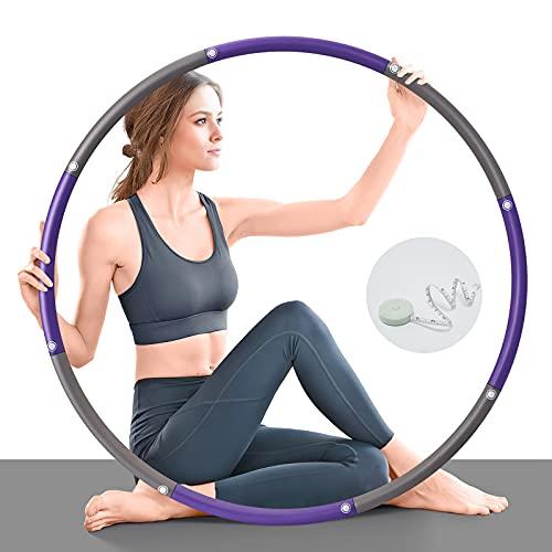 TOPLUS Hula Hoop Fitness - Aro de hula hoop para adultos y niños para perder peso y moldear, 8 segmentos, desmontable, ajustable, para fitness, deporte, hogar, oficina, moldeador de abdomen