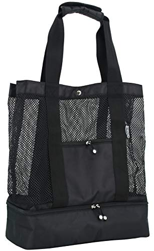QOGiR Mesh Beach Bag Tote with Insulated Picnic Cooler Bottom - Large, Durable and Light Weight (Black)