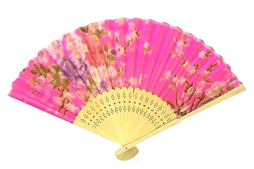 AUM Colorful Floral Pattern Hand Held Foldable Bamboo Japanese Silk Hand Fan (Magenta) Gift Fan for Girls Women Wedding Favor Party Decoration