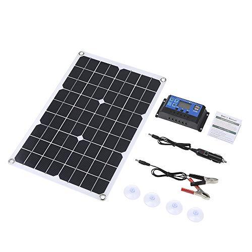 Galapara Kit de Panel Solar Flexible policristalino de Doble Salida con 2 Puertos USB DC 5V / 18V y Carga para automóvil Controlador de Carga Solar Regulador Inteligente PWM