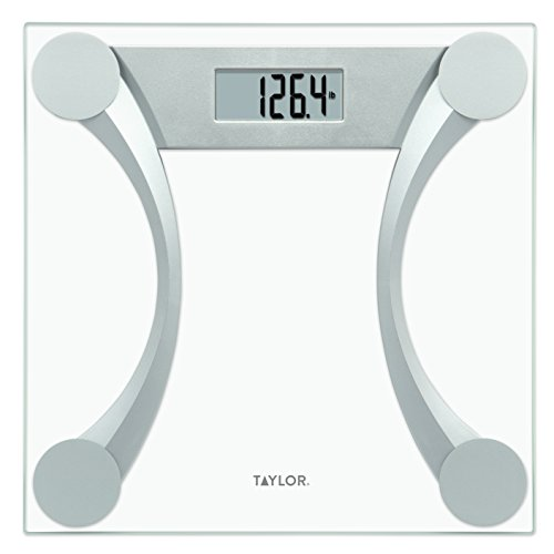 Taylor 400 Lb. Capacity Clear Glass Digital Bathroom Scale with Metallic Accents