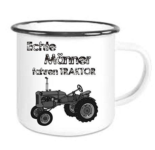 crealuxe Emailtasse mit Rand Echte Männer Fahren Traktor 2