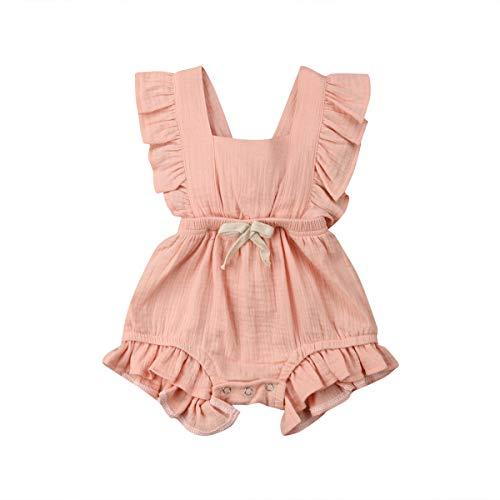 WangsCanis Baby Mädchen Junge Ärmellos Gekräuselte Einteiliger Strampler Kleinkind Spielanzug 0-24 Monate Prinzessin Neugeborenes Kleidung