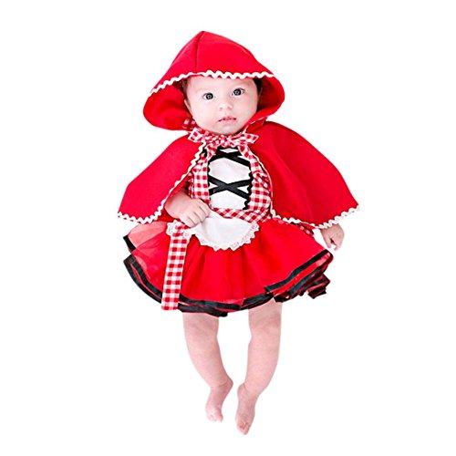 BYSTE Abito Bambina Ragazze Abiti Neonato Bambino Plaid Senza Maniche Tutu Pizzo Gonna a Soffietto Gonna di Garza Vestito da Principessa + Mantello con Cappuccio 2Pcs (Rosso, 3 Mesi)