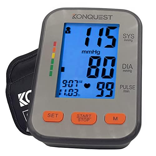 Konquest KBP-2704A Automatic Upper Arm Blood Pressure Monitor - Adjustable Cuff - Large Backlit Display - Irregular Heartbeat & Hypertension Detector...
