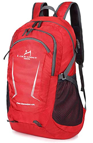 Loocower 45L Packable Ultralight Hiking Backpack, Foldable Lightweight Multi-functional Casual Camping Trekking Rucksack Cycling Travel Climbing Mountaineer Outdoor Sport Daypack Bag - Red