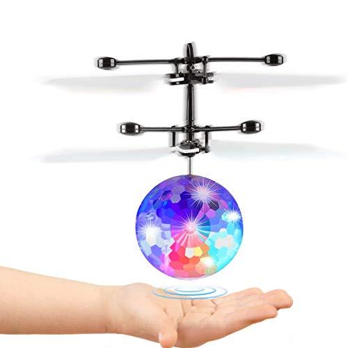 Fansteck Mini Drone, Dron Niños, Bolas Voladoras, Helicopteros Teledirigidos, Regalo para Niños Contro Remoto con Gafas de Protección Luces LED RC Infrarrojos Inducción para Niños 7+ Años Flying Toys