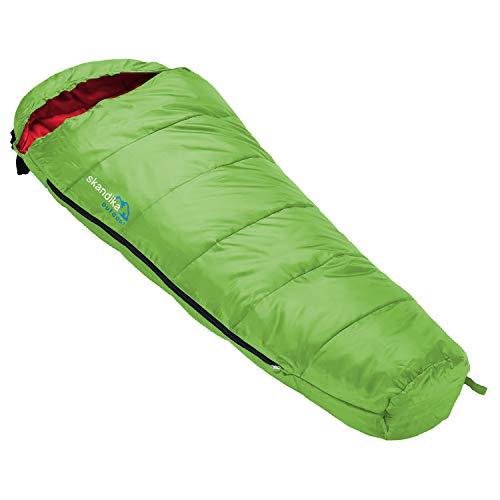 skandika Vegas Junior Kinderschlafsack | Outdoor Camping Schlafsack für Kinder, weiches Innenfutter, kuschelig weich, wasserabweisend, Komfortbereich von 12 bis 3°C, 170 x 70 cm (grün)